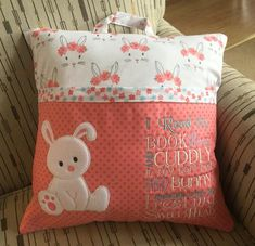Exquisite DIY Travel Accessory Sewing Project Ideas Sewing Projects For Baby. Exquisite DIY Travel Accessory Sewing Project Ideas Sewing Projects For Baby Bunny Reading Pill Book Pillow, Reading Pillow, Pillow Cases, Quilt Baby, Baby Pillows, Kids Pillows, Throw Pillows, Pillow Embroidery, Sewing Projects For Kids