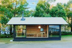 "Image 1 of 6 from gallery of Muji Unveils Tiny, Pre-Fabricated ""Huts"" at Tokyo Design Week. A wooden hut by Naoto Fukasawa. Image Courtesy of MUJI Casa Muji, Micro House, Tiny House, Maison Muji, Muji Hut, Naoto Fukasawa, Wooden Hut, Tokyo Design, Casas Containers"