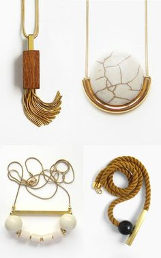 These gorgeous hand-crafted necklaces from Sew A Song are made of various materials like wood, brass, onyx and stone. Metal Jewelry, Jewelry Box, Wood And Metal, Jewerly, Gold Necklace, Fashion Jewelry, Personalized Items, Sewing, My Style