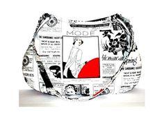 Poppy Lane Art Deco Newspaper Print Advertisement Handbag £21.99