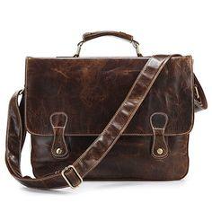 Mens vintage handmade antique leather briefcase messenger bag.