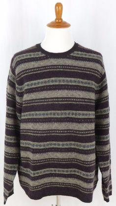Mens Merino Wool Blend Crew Neck Snow Ski Sweater Eddie Bauer XXL 2XL #EddieBauer #Crewneck