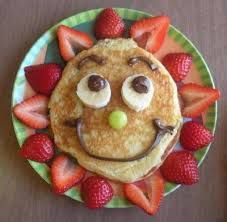 Cute food - pancakes with strawberry sun