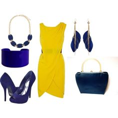 """Yellow and Blue"" by kajora on Polyvore"