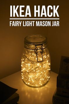Daydream in Blue UK Lifestyle Blog: IKEA Hack Fairy Light Mason Jar For more cute room decor ideas, visit our Pinterest Board: https://www.pinterest.com/makerskit/diy-tumblr-room-decor/