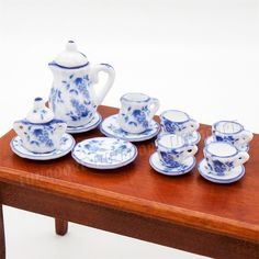 Superb Blue Grape And Flower Ceramic Tea Coffee Cup Set Miniature Porcelain  Tableware Dollhouse Accessories Suit For Kitchen(China (Mainland))