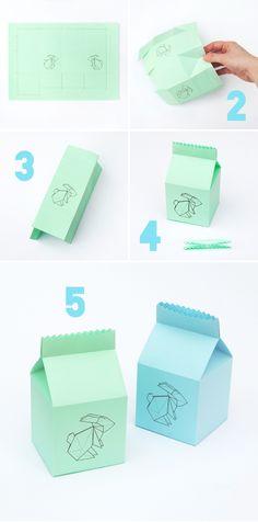 Plantilla imprimible para cajita de Pascua >> Easter 'origami bunny' treat box
