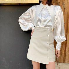 Fashion A Peaked Collar Puff Sleeve Shirt Collar Pattern, Satin Blouses, Beautiful Blouses, Blouse Dress, Feminism, Womens Fashion, Style Fashion, Women Wear, Age Regression