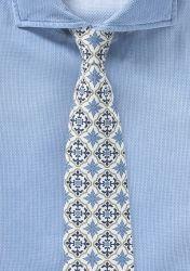 Blau, gelb-gold, weiße Krawatte mit stylischem Muster günstig kaufen