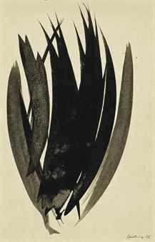 HANS HARTUNG (1904-1989)   Sans titre   signé et daté 'Hartung 56' (en bas à droite)   encre sur papier   18.7 x 12.2 cm. (7 3/8 x 4¾ in.)   Réalisé en 1956.