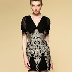 Elegant V Neck Embroidery Gauze Slim Dresses For Women
