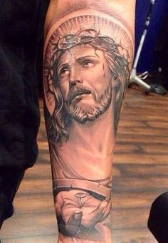 Lord Jesus tattoos will represent variety of various meanings. specially else, jesus tattoos tend to symbolize hope, inspiration, honor, forever love. Forearm Tattoos, Body Art Tattoos, Sleeve Tattoos, Tatoos, Jesus Tattoo Sleeve, Tattoo Pain, I Tattoo, Future Tattoos, Tattoos For Guys