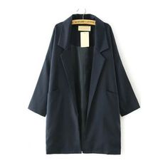 Navy Lapel Pockets Loose Trench Coat (280 SEK) ❤ liked on Polyvore featuring outerwear, coats, trench coat, navy blue coat, navy coat, pocket coat and navy trench coat