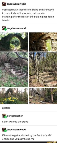I angelwormwood obsessed with those stone stairs and archways in the middle of the woods that remain standing after the rest of the building has fallen to ruin – iFunny :) – Memes – Humors My Tumblr, Tumblr Posts, Tumblr Funny, Funny Memes, Hilarious, Story Inspiration, Writing Inspiration, Stone Stairs, A Silent Voice