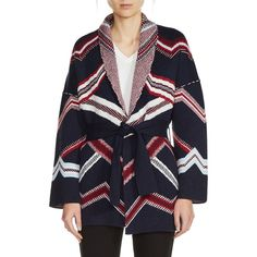 This Maje Marcozi Belted Kimono Jaquard Cardigan is a sophisticated alternative to any casual outerwear piece featuring an intricate mix of geometric jacquard motifs, an open front, and a removable self-tie waist belt. Relaxed fit gives it a Parisian chic attitude. As a reversible piece it transforms into two different cardigans.  https://www.evachic.com/product/maje-marcozi-belted-kimono-jaquard-cardigan/