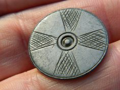 Post Medieval Pewter hand etched  button Crusader cross Metal detecting detector £8