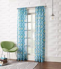 No. 918 Maddox Ikat Crushed Sheer Curtain Panel, 50 by 63-Inch, Marine
