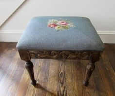 Antique Foot Stool Ottoman with Needlepoint by magpiesfancyshop