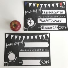 First Day Of School Printable Announcement Card by GraceHawk on Etsy