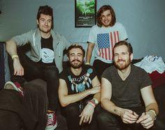 Bastille band members - Dan, Kyle, Woody (white t-shirt), Will