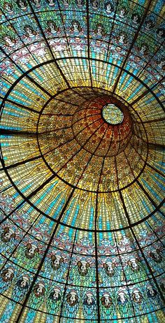 "simobutterfly: ""Extremely intricate stained glass on ceiling of Palau de Catalan Music in Barcelona. Example of beautiful art nouveau. """