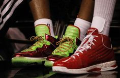 LBJ and D.Wade wearing their Xmas sneakers VS. OKC Christmas day.