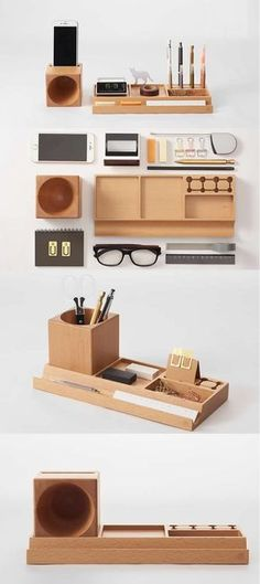 Wooden Office Desk Stationery Organizer Pen Pencil Holder Storage Box Smart Phone Speaker Sound Amplifier