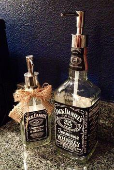 DIY Jack Daniels Soap Dispenser - 18 Creative DIY Ideas That Revive Old Objects (Liquor Bottle Dispenser) Alcohol Bottles, Liquor Bottles, Bottles And Jars, Glass Bottles, Tequila Bottles, Jack Daniels Soap Dispenser, Jack Daniels Bottle, Jack Daniels Decor, Do It Yourself Furniture