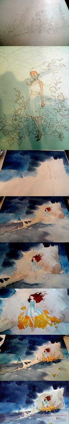梦游兔 的插画 螺之音  #draw #drawing | #tutorial | #paint #painting | #watercolor | #girl #sea #shell | #anime & #manga | #digital #art