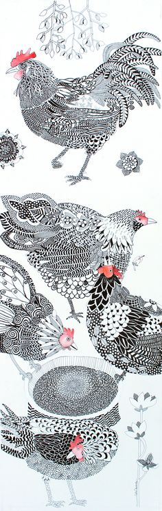 Zentangle chickens by Cate Edwards Art And Illustration, Ink Illustrations, Chicken Illustration, Doodles Zentangles, Zentangle Patterns, Henna Patterns, Zen Doodle, Doodle Art, Chicken Art