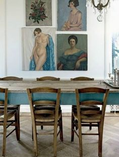 dining room with an inspiring mix of art and furniture. Really like how the bluey grey from the table mixes so well to highlight the similar tones in the artwork. Interior Inspiration, Design Inspiration, San Francisco Girls, Vintage Colors, Vintage Decor, Modern Bohemian, Scandinavian Style, Shades Of Blue, Decoration