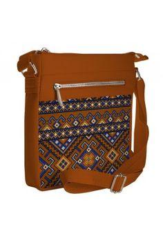 Сумка «Блакитна вишиванка» коричневого кольору (Pocket)