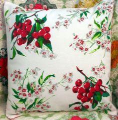 Vintage Ripe Juicy Cherries throw pillow by RightAmountOfKitsch, $12.50