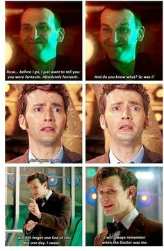 "The last words of the Doctors - S1 E13 ""Parting of the Ways"", S4 ""The End of Time "" part 2, S7 ""The Time of the Doctor"""