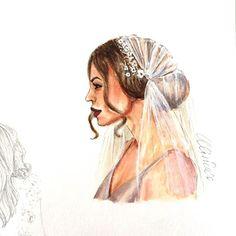 Bridal illustration ✨ #bridalillustration #fashionillustration #fashionsketch #copicmarkers #bridalportrait #headpiece #lookillustrated