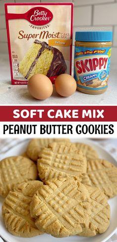 Cake Mix Desserts, Cake Mix Cookie Recipes, Cookie Desserts, Delicious Desserts, Chewy Cake Recipe, Simple Cookie Recipe, Quick Easy Desserts, Dump Cake Recipes, Cookie Ideas