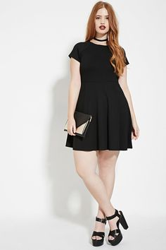 Forever 21+ - A knit dress featuring a classic fit and flare silhouette and short sleeves.