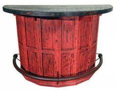Red Scrape Barrel Bar | Rustic Furniture | Western Furniture