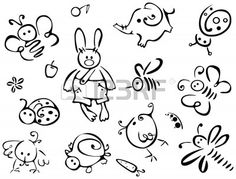 Silhouettes of cute animals and insects for your design.