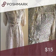 "INT. Ladies Garment Vintage Dress ILGWU 60's floral cotton dress with elastic waist. Waist 27"" unstretched ❌no offers❌ Vintage Dresses"