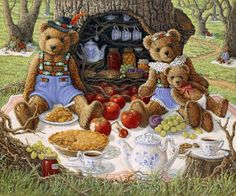 Bentley's Family Picnic, a painting of Bentley Bear and his wife and baby enjoying apple pie and tea in front of the hollow tree that holds their pantry, one of the Janet Kruskamp Teddy Bear Gallery of Original Oil Paintings by Janet Kruskamp Bear Paintings, Cross Paintings, Oil Paintings, Original Paintings, Bear Gallery, Bear Wallpaper, Bear Pictures, Family Picnic, Love Bear