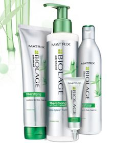 Matrix Biolage Fiberstrong. Works great if you use a lot of heat on your hair. This makes it super soft and healthy!