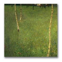 Farmhouse with Birch Trees by Gustav Klimt Painting Print on Wrapped Canvas