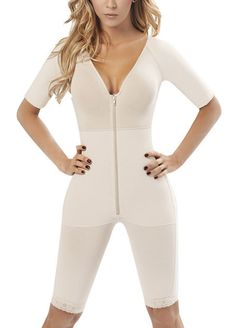 V Neck Short Sleeve Body Shapers With Zipper_Body Shaper_Shapewear_Sexy Lingeire | Cheap Plus Size Lingerie At Wholesale Price | Feelovely.com