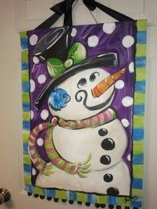 Cute snowman canvas paint idea for wall decor. Christmas. Frosty the snowman.  Polka dots. Canvas painting.