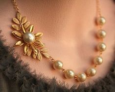 Necklace Jewelry Items similar to Pearl Leaf Necklace Gold Bridal Jewelry Gold Wedding Jewelry Bridesmaids Necklace Pearl Necklace, Vintage Jewelry on Etsy - Gold Pearl Necklace, Leaf Necklace, Pearl Jewelry, Gold Jewelry, Vintage Jewelry, Jewelry Necklaces, Quartz Jewelry, Jewelry Holder, Pearl Necklace Designs
