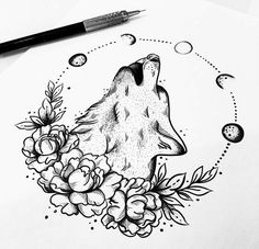 tattoo drawing discovered by Wrywolf on We Heart It - Imagem de tattoo and wolf - Fairy Tattoo, Tattoos, Tattoos For Women, Sleeve Tattoos, Tattoo Drawings, Wolf Tattoos For Women, Wolf And Moon Tattoo, Beginner Tattoos, Small Tattoos