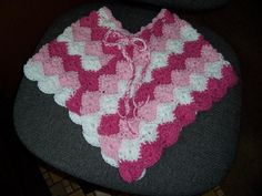 Pink Peppermint Girls Poncho CROCHET PATTERN 2-6 years INSTANT Download - pinned by pin4etsy.com