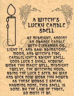 Witch's Lucky Candle Spell, Book of Shadows Spell Page, BOS Pages, Wicca