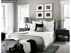 Love the cow hide stools at the end of the bed.  American-Made | Atlanta Homes & Lifestyles